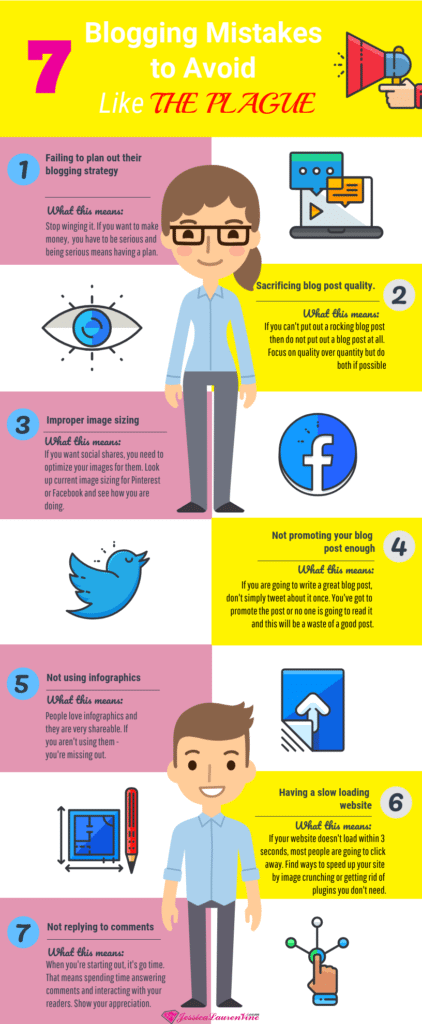 This infographic explains the 7 blogging mistakes to avoid so you can have success with your blog and get more traffic and engaged users