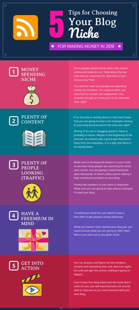 infographic about tips for choosing your blog niche