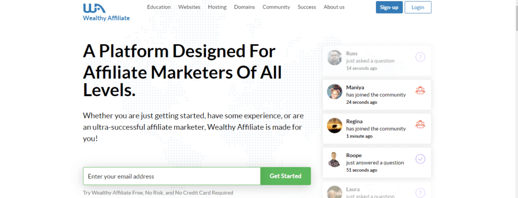 wealthy affiliate home page