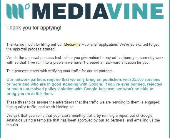 Communication from Mediavine
