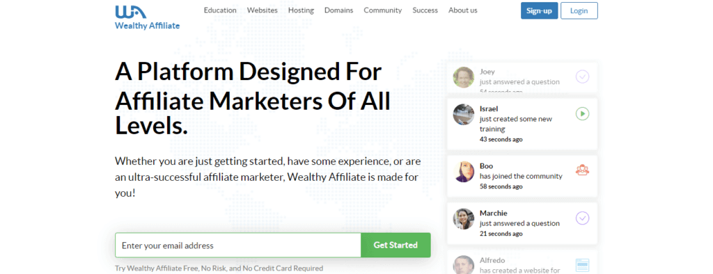 Wealthy Affiliate is an affiliate program for making money online